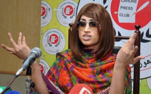 Qandeel Baloch speaks during a press conference in Lahore in June 2016, less than three weeks before her murder