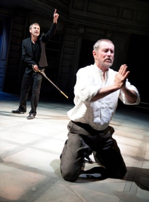 John Simm, left, in Hamlet at the Sheffield Crucible