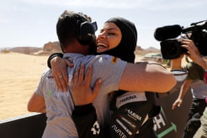 Christine Giampaoli Zonca of Hispano Suiza Xite Energy Team, embraces a member of her team.