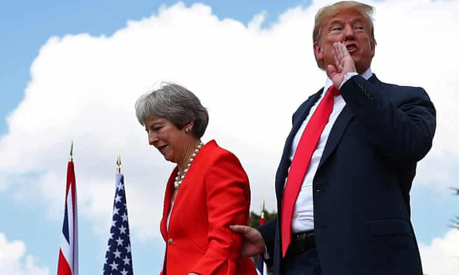 Theresa May and Donald Trump at Chequers in July 2018.
