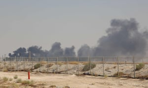 The Abqaiq oil facility, Saudi Arabia, after drone attacks sparked fires at two Saudi Aramco oil facilities early today, the interior ministry said, in the latest assault on the state-owned energy giant as it prepares for a much-anticipated stock listing. Yemen's Iran-aligned Huthi rebels claimed the drone attacks, according to the group's Al-Masirah television. (Photo by - / AFP)-/AFP/Getty Images