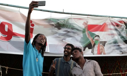 Protesters at the sit-in in Khartoum.