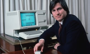 Steve Jobs in 1983, a few years after Lisa was born, with the Apple computer he named Lisa.