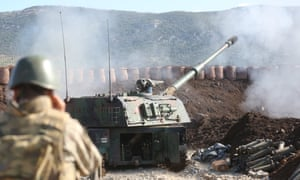 Turkish Armed Forces' howitzers continue to hit Kurdish targets in Afrin during Operation Olive Branch