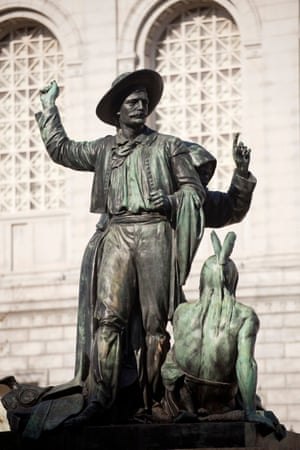Statue of two white men standing over a Native American man in San Francisco