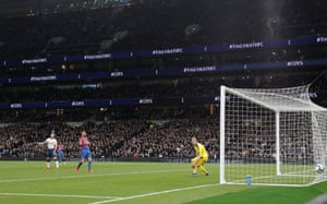 It's Son who will go down in the history books as the first player to score the first official goal in Spurs' wonderful new stadium. His shot from the edge of the area is deflected off Luka Milivojevic and into the net.