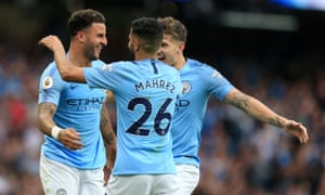 Kyle Walker celebrates scoring Man City's second goal against Newcastle.