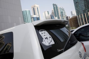 An image on a parked car in Doha.