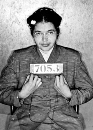 Rosa Parks's booking photo, taken at the time of her arrest in 1955.