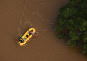 A rescue team navigates the waters near Lismore