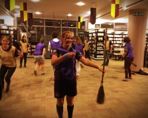 Quidditch players at Waterstones Piccadilly in London during the launch of Harry Potter and the Cursed Child in July 2016.