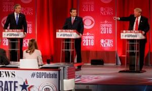 L to R: Jeb Bush, Ted Cruz and Donald Trump during a Republican debate.