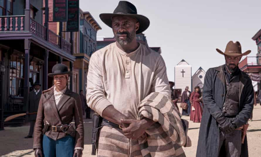 From left: Regina King, Idris Elba and Lakeith Stanfield in The Harder They Fall.