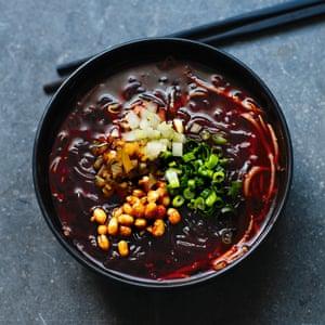 Fuchsia Dunlop's sour-and-hot sweet potato noodles (suanla fen).
