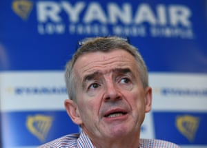 Irish chief executive officer of Ryanair Michael O'Leary gives a press conference in Brussels, on January 27, 2016. Michael O'Leary presented Ryanair's expansion for 2016, ranging from new routes, new uniforms for in-flight staff and lower costs / AFP / EMMANUEL DUNANDEMMANUEL DUNAND/AFP/Getty Images