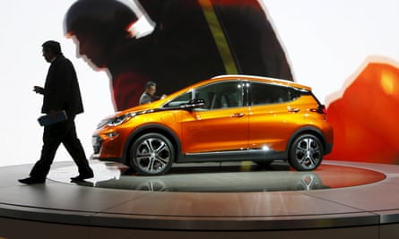 A Chevrolet Bolt electric vehicle at the North American International Auto Show in Detroit.
