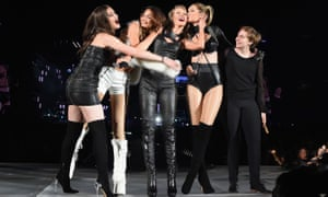 Taylor Swift, centre, on stage with some of her 'girl squad', from left, Hailee Steinfeld, Lily Aldridge, Gigi Hadid and Lena Dunham.