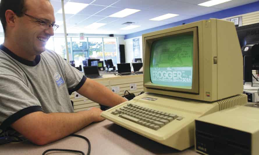 firing up an Apple IIE 1983 model.