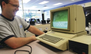 Oct. 6, 2011 - Davenport, Iowa, U.S. - Gabriel Moore, an Apple service manager at Computer Evolution in Davenport, fires up the oldest Apple computer in the store, an Apple IIE manufactured from January 1983 to Feburary 1985. Employees still use it once i<br>CE1JRC Oct. 6, 2011 - Davenport, Iowa, U.S. - Gabriel Moore, an Apple service manager at Computer Evolution in Davenport, fires up the oldest Apple computer in the store, an Apple IIE manufactured from January 1983 to Feburary 1985. Employees still use it once in a while to play the floppy disc game Frogge
