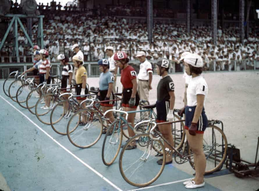 Competitors prepare for a keirin race at Kokura Velodrome in May 1954.
