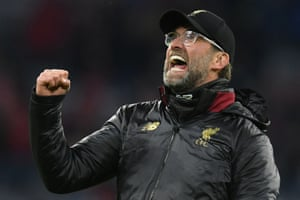 Jurgen Klopp celebrates Liverpool's 3-1 win.