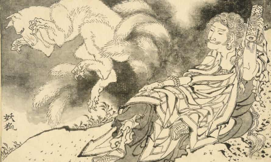 'Fumei Chōja and the nine-tailed spirit fox', one of the myths that inspired Katsushika Hokusai for his unpublished Great Picture Book of Everything.