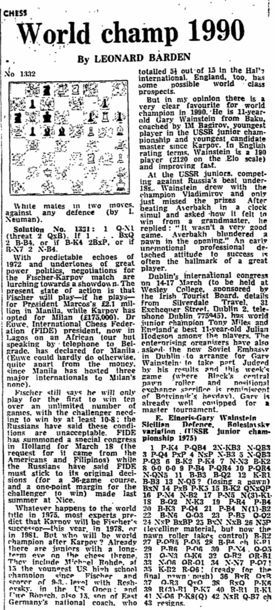 Leonard Barden 1975 article