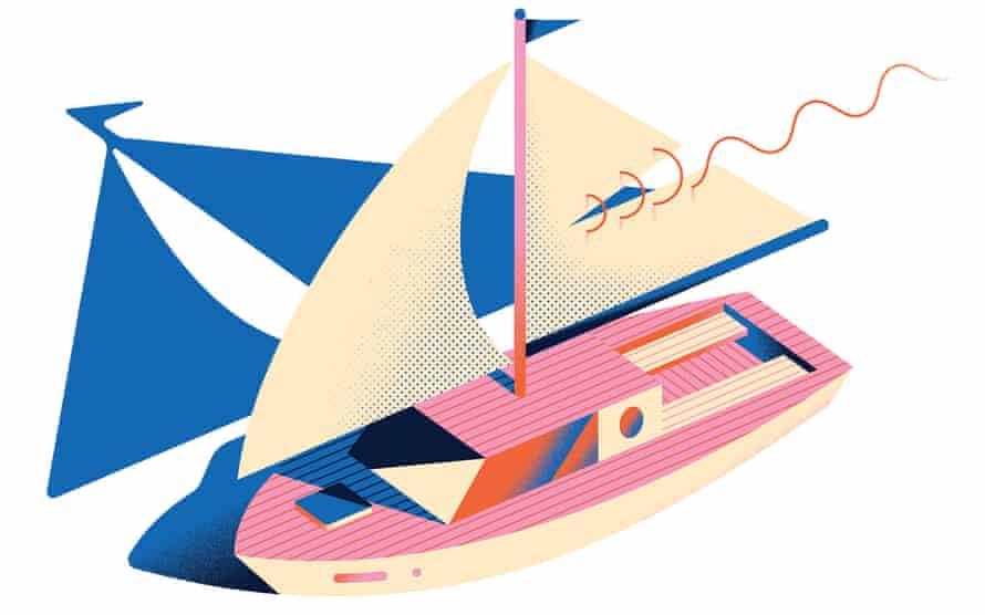Illustration of a boat with sails and a blue shadow