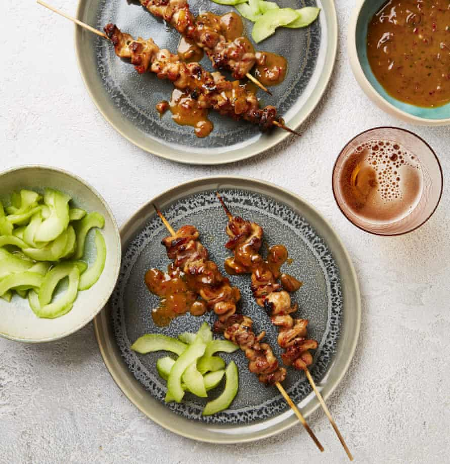 Yotam Ottolenghi's satay skewers with quick pickled cucumbers.
