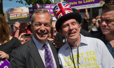 The former UK Independence party leader Nigel Farage, left, while campaigning in favour of Brexit