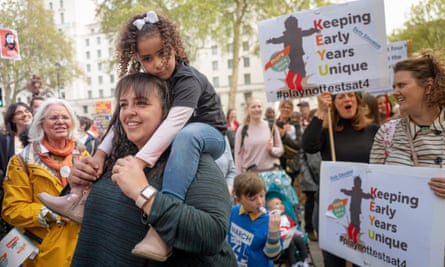 A protest by children and parents