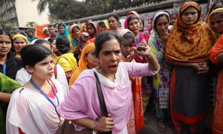 Garment workers at a protest in Dhaka, Bangladesh