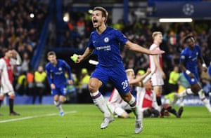 Cesar Azpilicueta celebrates before his goal is ruled out.