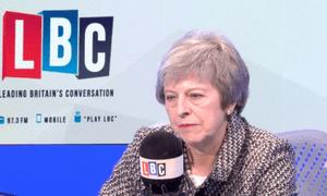 A gaunt-looking Theresa May on LBC last week.