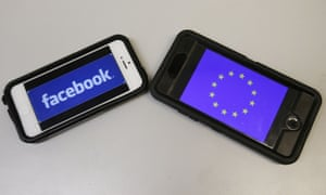 facebook and EU symbols on two smartphones