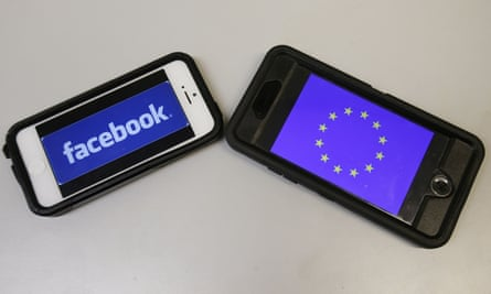 facebook and EU symbols on two smartphones