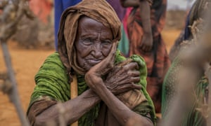 An elderly women waits for food aid in the Warder district in the Somali region of Ethiopia.