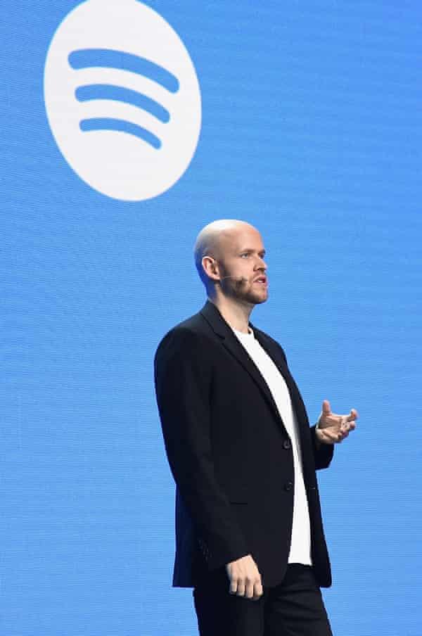 Spotify's CEO, Daniel Ek, speaking in New York in March 2018.