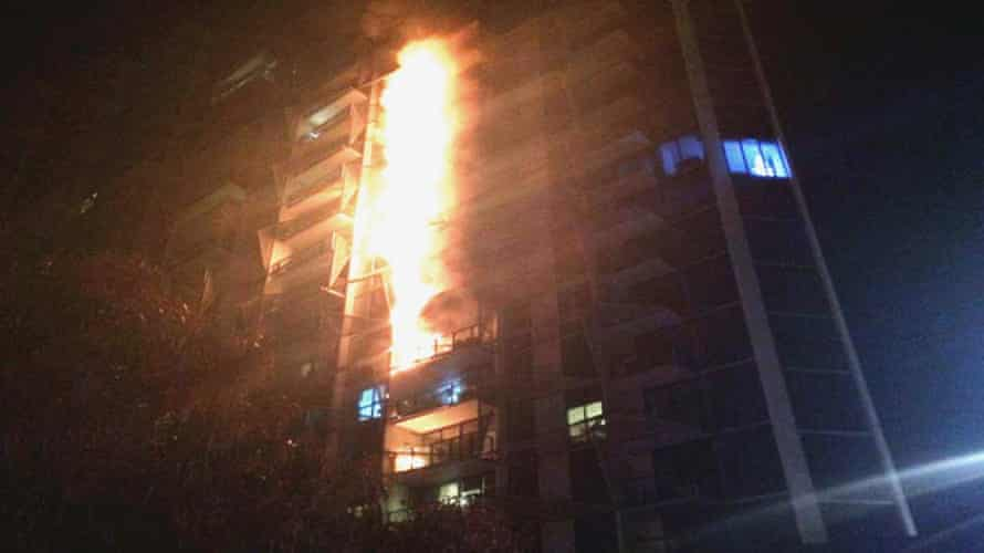 A picture of the fire at the Lacrosse tower in Melbourne's Docklands in 2014 which spread across the facade in a matter of minutes.