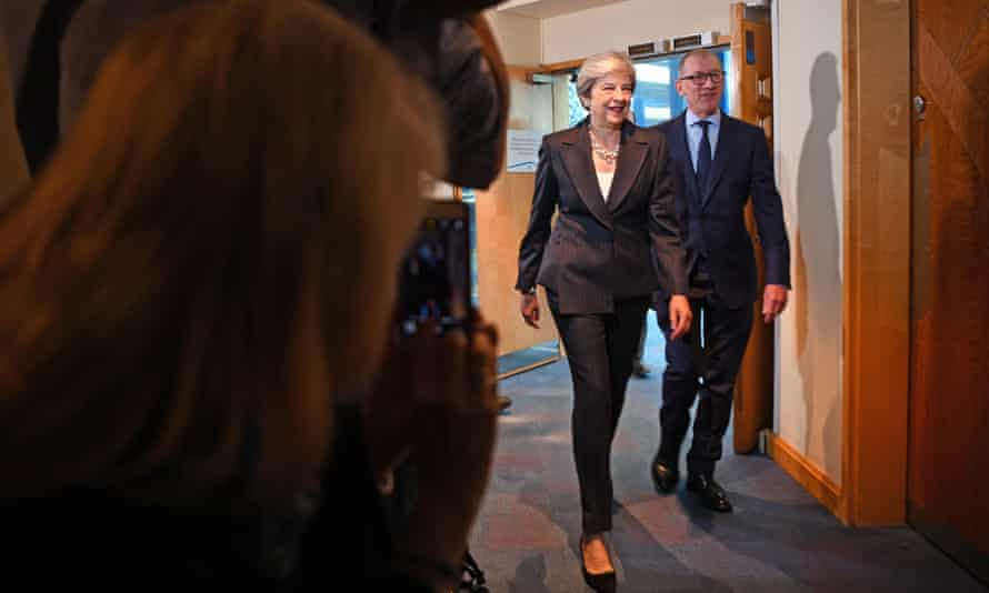 Theresa May and her husband Philip arrive at Conservative party conference in Birmingham
