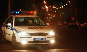 A policeman from the GIBDD (Russian road police) on the street of Chita, Russia