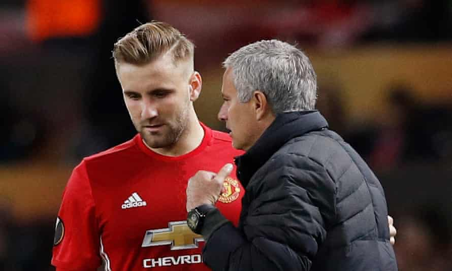 Luke Shaw, left, has made only 14 appearances for Manchester United this season under José Mourinho.