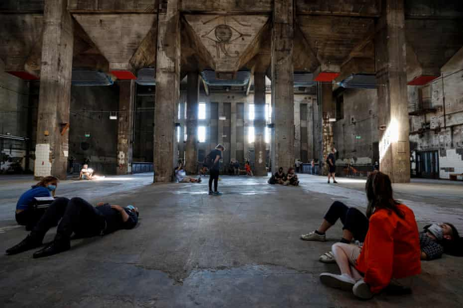 Burning up the dancefloor ... visitors listen to the sound installation Eleven Songs by Sam Auinger and Hannes Strobl.