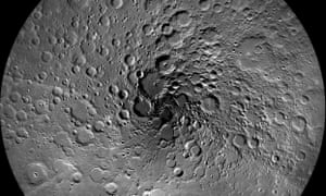 This image of the moon's north polar region was taken by the Lunar Reconnaissance Orbiter Camera.