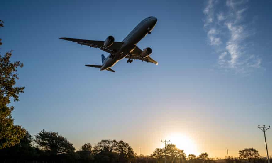 A plane in the air near London's Heathrow airport.