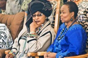 Winnie Mandela and Gwen Ramokgopa attend a meeting in honour of Nelson Mandela at Freedom Park
