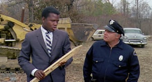 Sidney Poitier (left) and Rod Steiger investigate a murky murder case in In the Heat of the Night.