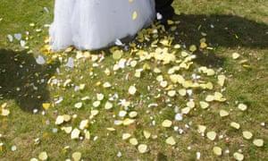 confetti at a wedding