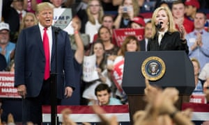Donald Trump and the Republican Senate candidate Marsha Blackburn during a campaign rally on 1 October in Johnson City, Tennessee.