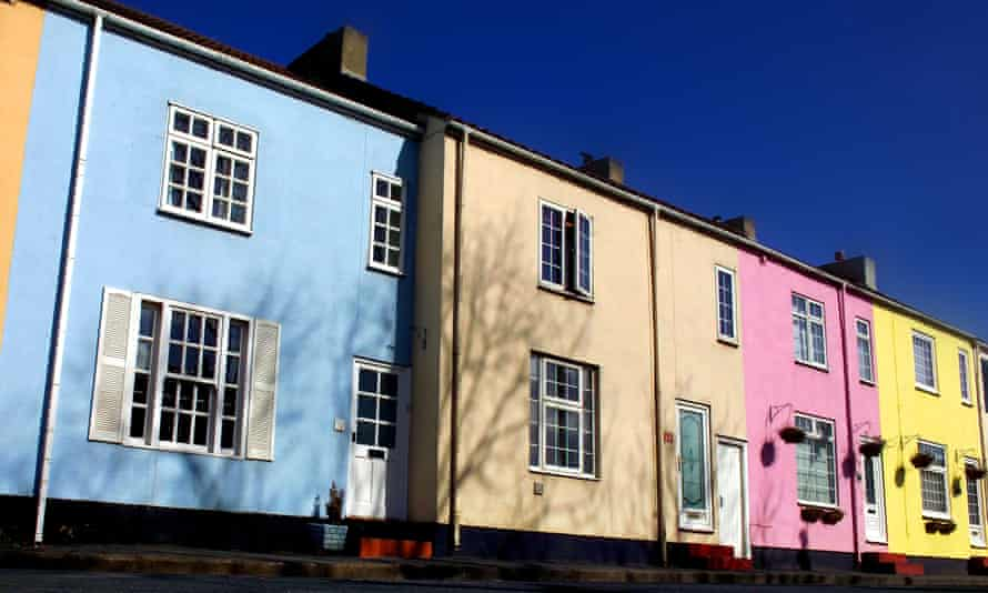 Pastel-coloured houses in Sedgefield, County Durham